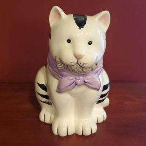 Black and White Cat with Fish Cookie Jar- Vintage
